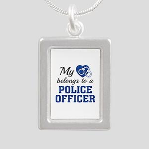 Heart Belongs Police Officer Silver Portrait Neckl