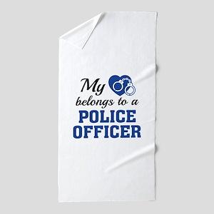 Heart Belongs Police Officer Beach Towel