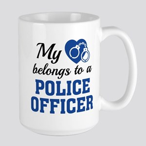 Heart Belongs Police Officer Large Mug