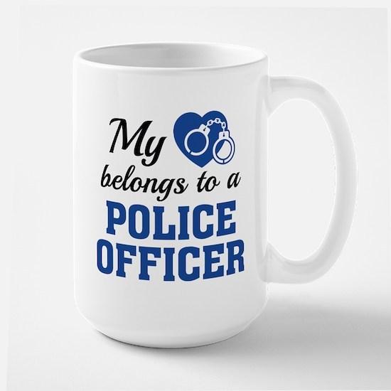 Heart Belongs Police Officer Large Mug