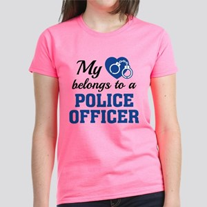 Heart Belongs Police Officer Women's Dark T-Shirt