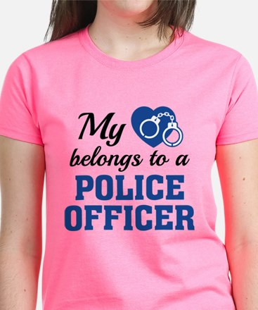Heart Belongs Police Officer Women's Dark T-Shirt