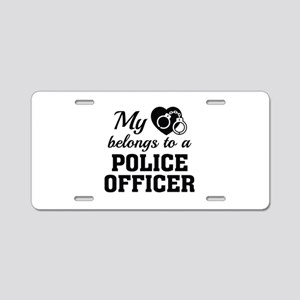Heart Belongs Police Officer Aluminum License Plat