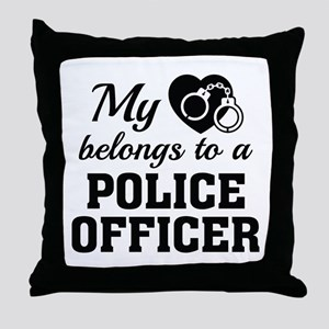 Heart Belongs Police Officer Throw Pillow