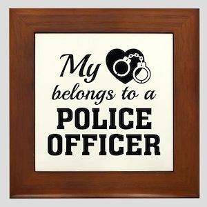 Heart Belongs Police Officer Framed Tile