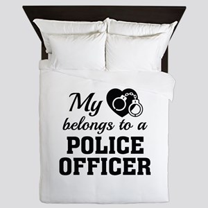 Heart Belongs Police Officer Queen Duvet