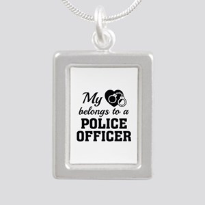 Heart Belongs Police Officer Silver Portrait Neckl