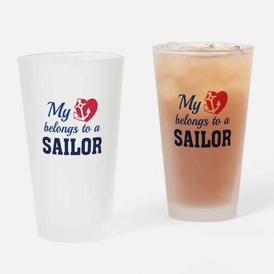 Heart Belongs Sailor Drinking Glass