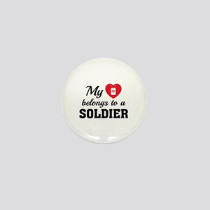 Heart Belongs Soldier Mini Button