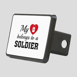 Heart Belongs Soldier Rectangular Hitch Cover