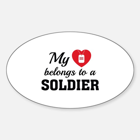 Heart Belongs Soldier Sticker (Oval)