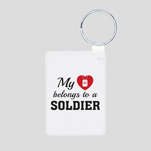 Heart Belongs Soldier Aluminum Photo Keychain