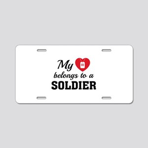 Heart Belongs Soldier Aluminum License Plate