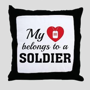Heart Belongs Soldier Throw Pillow