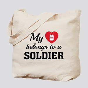 Heart Belongs Soldier Tote Bag