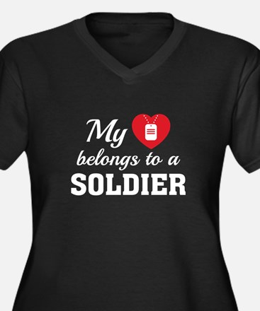 Heart Belongs Soldier Women's Plus Size V-Neck Dar