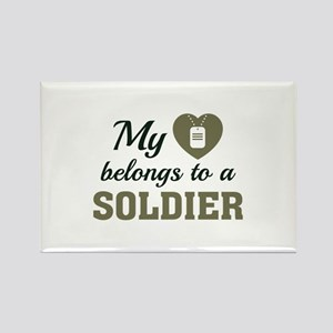 Heart Belongs Soldier Rectangle Magnet