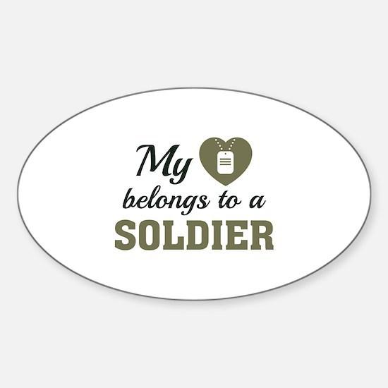 Heart Belongs Soldier Sticker (Oval)