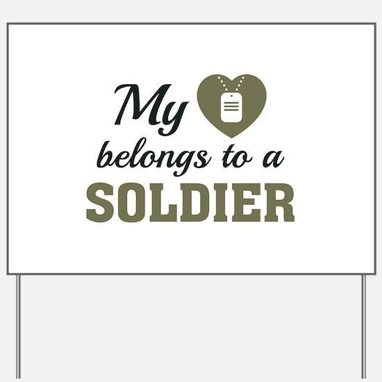 Heart Belongs Soldier Yard Sign