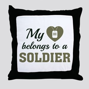 Heart Belongs Soldier Throw Pillow