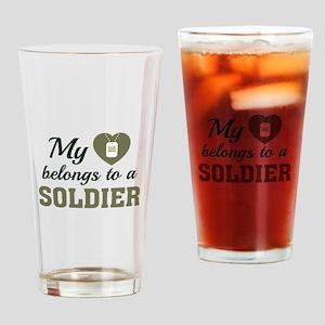 Heart Belongs Soldier Drinking Glass