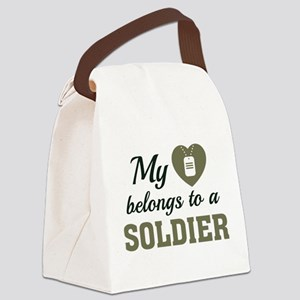 Heart Belongs Soldier Canvas Lunch Bag