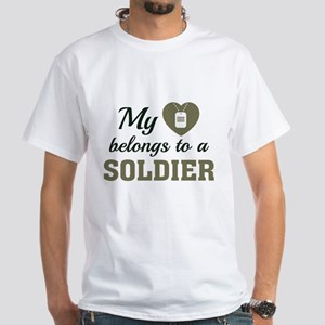 Heart Belongs Soldier White T-Shirt