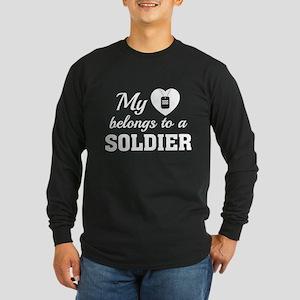 Heart Belongs Soldier Long Sleeve Dark T-Shirt