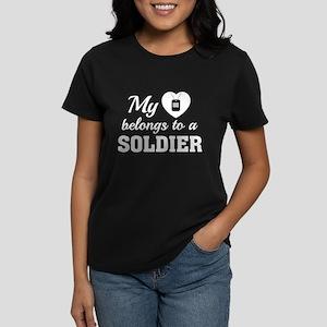 Heart Belongs Soldier Women's Dark T-Shirt
