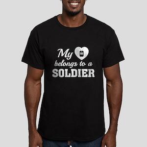Heart Belongs Soldier Men's Fitted T-Shirt (dark)