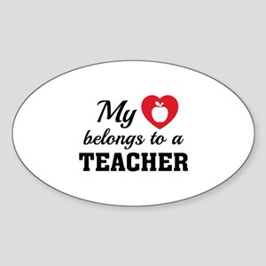 Heart Belongs Teacher Sticker (Oval)
