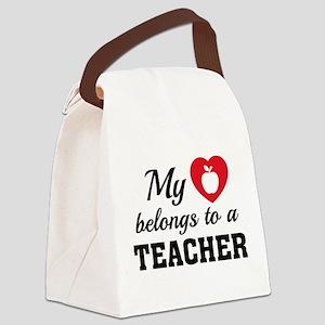 Heart Belongs Teacher Canvas Lunch Bag