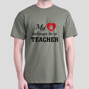 Heart Belongs Teacher Dark T-Shirt