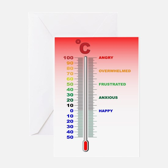 Temper Thermometer Greeting Cards