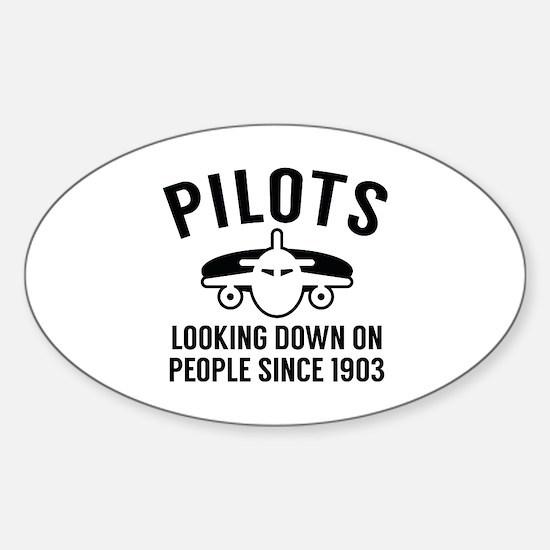 Pilots Looking Down Sticker (Oval)