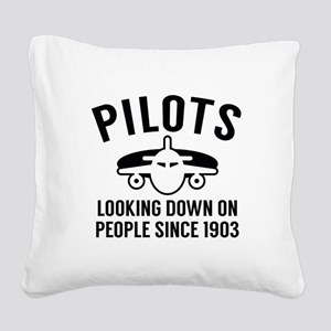 Pilots Looking Down Square Canvas Pillow