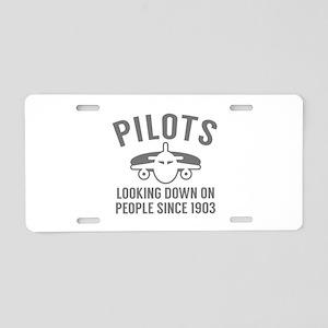 Pilots Looking Down Aluminum License Plate