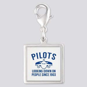 Pilots Looking Down Silver Square Charm
