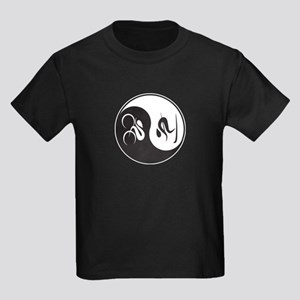 Bike-Ski Yin Yang Kids Dark T-Shirt