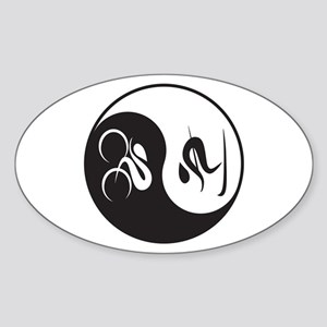 Bike-Ski Yin Yang Sticker (Oval)