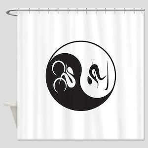 Bike-Ski Yin Yang Shower Curtain