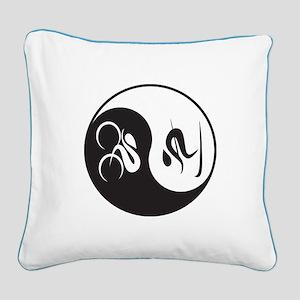 Bike-Ski Yin Yang Square Canvas Pillow