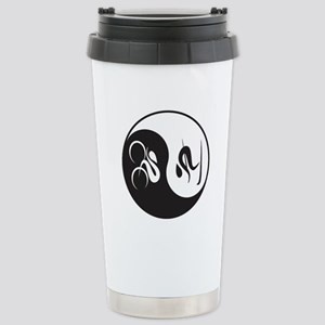 Bike-Ski Yin Yang Stainless Steel Travel Mug