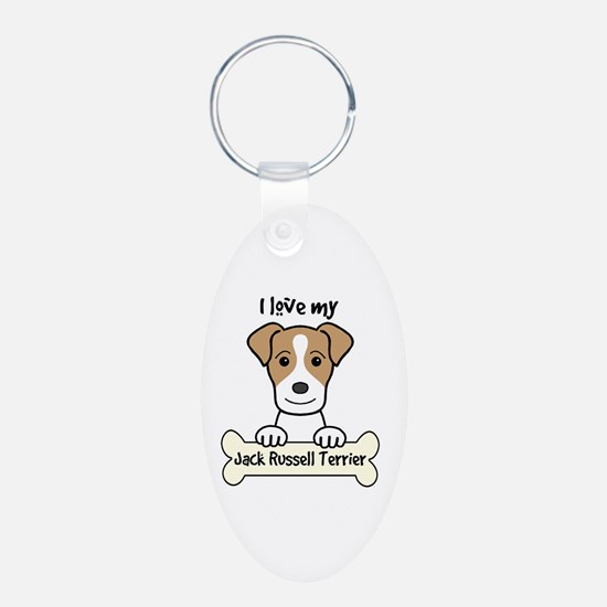 Cute I love my jack russell terrier Keychains