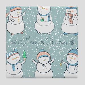 Christmas Snowmen Tile Coaster