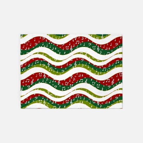 Christmas waves and music 5'x7'Area Rug