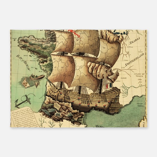 Ancient Map 5'x7'Area Rug
