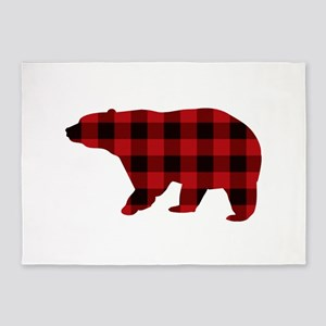 lumberjack buffalo plaid Bear 5'x7'Area Rug