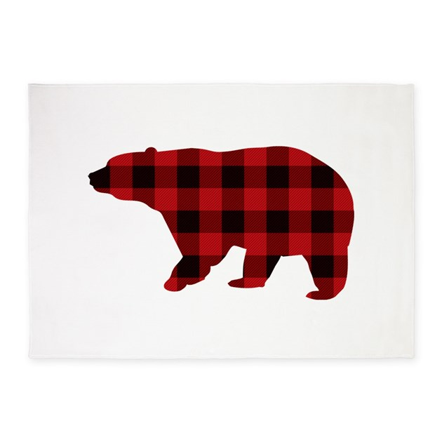 Lumberjack Buffalo Plaid Bear 5 X7 Area Rug By Admin