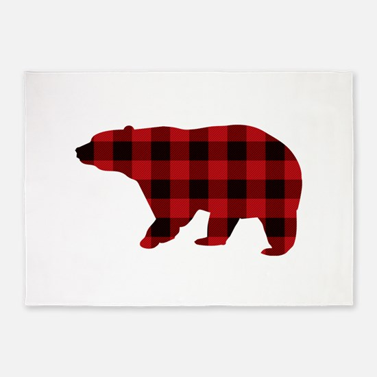 lumberjack buffalo plaid Bear 5'x7'Area Rug